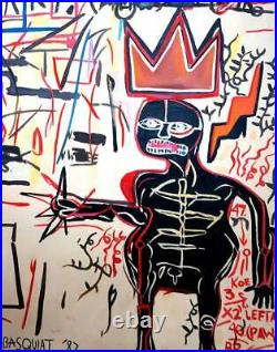 JEAN-MICHEL BASQUIAT Lovely Oil on Canvas Painting Signed & Dated'82. Pop Art