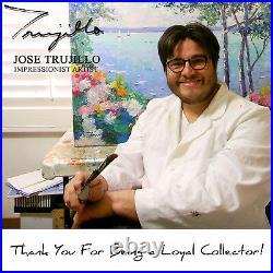 JOSE TRUJILLO FRAMED Oil Painting Modern Impressionist BUILDINGS RIVER SIGNED