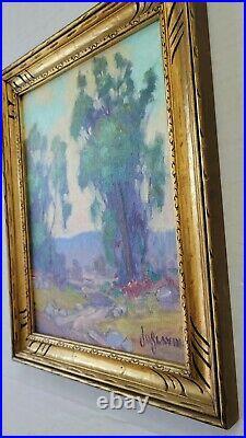 James Slay Listed California Plein Air Landscape Oil Painting Old Vintage Frame