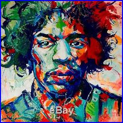 Jimmy Hendrix, Palette Knife oil Painting On Canvas, Textured, Voka Replica