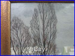 Johannes Kolbel'34 Modernist Ptg of Oslo in Snow Listed Norway Norwegian Artist