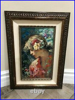 Jose Royo Con el Clavel ORIGINAL Oil Painting on Canvas with COA 20 by 27 framed
