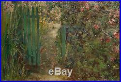 LISTED Artist WILLIAM CONSTABLE ADAM Antique OIL Painting GARDEN GATE California