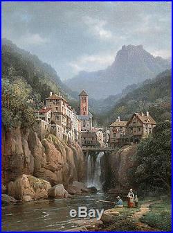 Landscape Oil painting Charles Euphrasie Kuwasseg Vue de Kanderstein, Tyrol