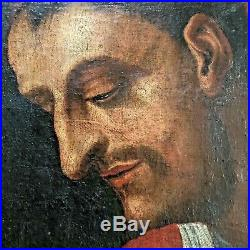 Large 17th Century Lombard Oil Painting Of Saint Carlo Borromeo Patrón Of Milan
