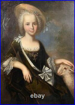 Large 18th C. French Portrait Young Lady Shepherdess Oil Canvas Francois De Troy