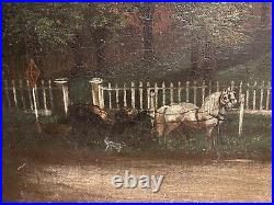 Large Folk Art American Antique Primitive Oil on Canvas Painting Old Mansion