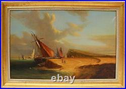 Large antique oil painting on canvas, coastal landscape, framed, signed Dumov