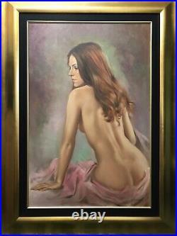 Large framed nude/ female art Original oil painting on Canvas