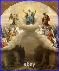Large oil painting The trinity Ascension of Christ & angels St. John the Baptist