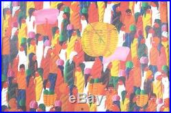 Laurent Casimir Listed Artist Oil On Canvas Haitian Market Scene Painting