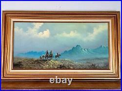 Lester Hughes Framed Cowboy Riding Horse Painting Western Landscape Listed Art