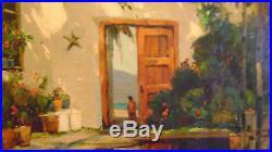Listed Artist Anthony Thieme Oil On Canvas Patio Espanola 25 X 30 Signed