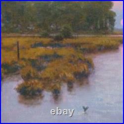 Lrg 24x20 Sun Twilight Marsh Impressionism wetlands Landscape Art Oil Painting