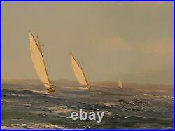 M. G. Friedrich Large Original Oil Painting Yacht Race