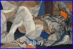 MORTON TRAYLOR 1950 Painting Fallen Man California Artist Mid-Century Modern