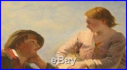 Magnificent 19c Oil On Canvas Painting By James John Hill, Listed Artist Lovers