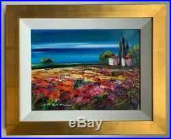 Maya Green Original Oil Painting Landscape-Framed