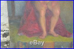 Mid Century English School Test Oil On Canvas Painting From Life 1951 Nude Woman
