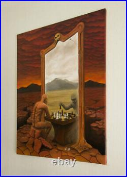 Mirror Chess ORIGINAL HANDMADE OIL PAINTING Gothic Fantasy Surrealism 30 x 36