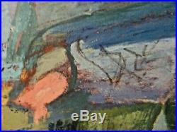 Morris Shulman (1912-1978) Abstract Impressionist Oil Painting Monhegan View