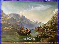 Mountain landscape Framed oil painting on canvas Landscape scenery mountains