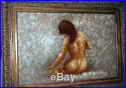 Nude Large Oil Painting Rare View Sitting Girl Gorgeous Details By Barton