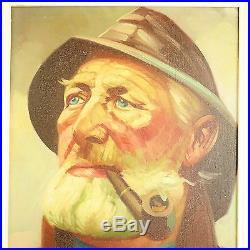 ORIGINAL PORTRAIT OF OLD FISHERMAN Framed Oil on canvas Signed UNIQUE ART DECOR