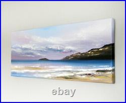 ORIGINAL SEASCAPE CANVAS PAINTING, Sarah Featherstone, Dawn Sky, Beach, Sea ART