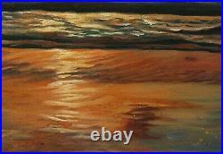 Ocean sunset, Original Artwork oil painting on stretch canvas, seascape 16''x20