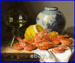 Oil Edward Ladell Still Life with Prawns and a Delft Pot porcelain vase canvas