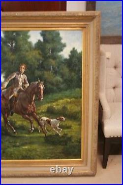 Oil Painting of Fox Hunt Scene Framed 5'x7' artist signed Wiliamson