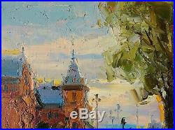 Oil Painting on Canvas, Antique Champagne Framed, Quiet Morning in a Small Town