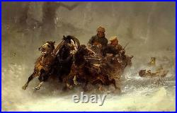 Oil painting Adolf Schreyer a troika persued by wolves in winter landscape 36