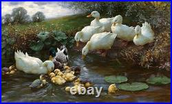 Oil painting Alexander Koester Family of Ducks at the Water in landscape canvas