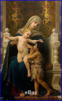 Oil painting Bouguereau The Virgin, Baby Jesus and Saint John the Baptist canvas