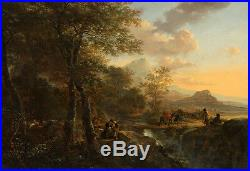 Oil painting Old Dutch Netherlands sunset landscape & people Single-plank bridge