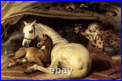 Oil painting Sir Edwin Landseer The Arab Tent with horse and baby Foal dogs