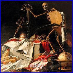 Oil painting Skeleton frame The god of death holding Coffin casket Sickle art