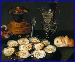 Oil painting osias beert, the elder Bodegon (Oysters and Glasses) still life