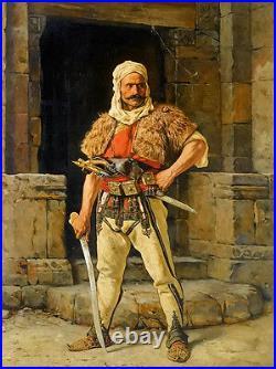 Oil painting paul joanovitch a serbian warriors male portrait holding sword