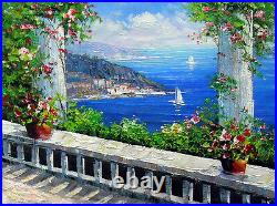 Oil painting summer season Mediterranean landscape with still life flowers ART