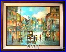 Old Manila Street Scene Art Philippines Oil Painting