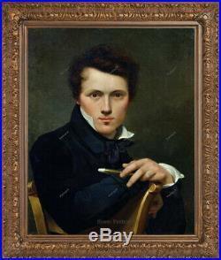 Old Master Art Antique Man Self Portrait Gentleman Oil Painting Unframed 24x30