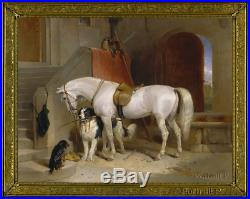 Old Master Art Antique Oil Painting Portrait Horse Dog on Canvas Animal 30X40