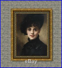 Old Master Art Antique Portrait Beautiful Woman Lady Oil Painting Unframed 24