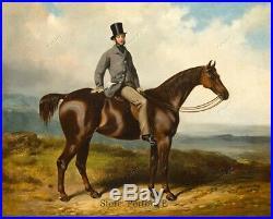 Old Master Art Antique Portrait Gentleman on Horse Oil Painting Unframed 30x40
