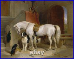 Old Master Art Antique Portrait White Horse Dog Oil Painting Unframed 30x40 in