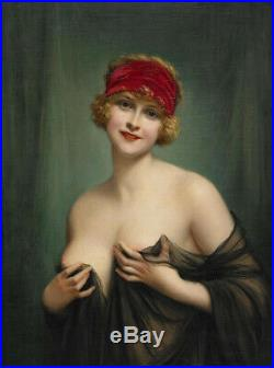 Old Master-Art Antique portrait oil Painting nude girl on canvas 24x36
