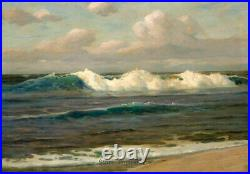 Old Master Art Ocean Waves Seascape Oil Painting on Canvas Unframed 24x36 inch